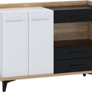 WIP Komoda 2D3S BOX-02 Farba: dub sonoma svetlá / biela / čierna